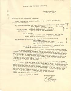 Letter from Oliver La Farge to W. E. B. Du Bois, James Weldon Johnson, William S. Braithwaite, and Lewis Gannett