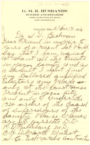 Letter from G. M. R. Husbands to S. D. Redmond