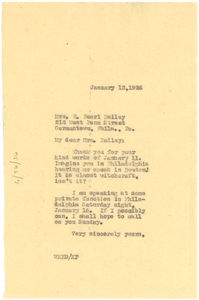 Letter from W. E. B. Du Bois to E. Pearl Bailey