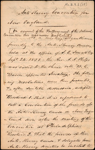 Anti slavery convention for New England from Amos Augustus Phelps, [Boston], [1833]