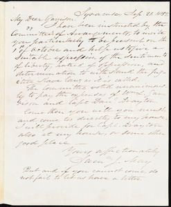 Letter from Samuel Joseph May, Syracuse, [N.Y.], to William Lloyd Garrison, Sep[tember] 21. 1852