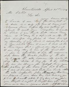 A. J. McElveen, Sumterville, S.C., autograph letter signed to Ziba B. Oakes, 21 April 1854