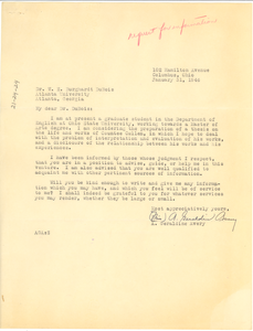 Letter from A. Geraldine Avery to W. E. B. Du Bois