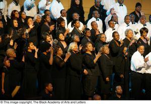 Choir members on stage