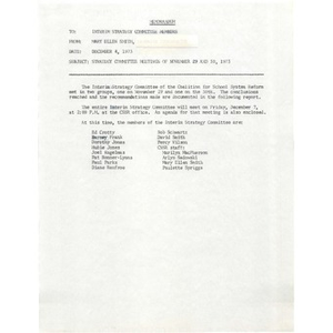 Memo, strategy committee meetings of November 29 and 30, 1973.