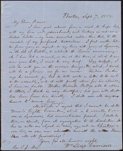 Letter from William Lloyd Garrison, Boston, [Mass.], to Samuel Joseph May, Sept. 7, 1852