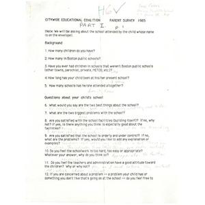Citywide Educational Coalition parent survey 1985 - Gavin Middle School.