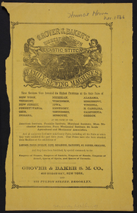 Advertisement for Grover & Baker's Highest Premium Elastic Stitch Family Sewing Machines, Grover & Baker S.M. Co., 495 Broadway, New York and 235 Fulton Street, Brooklyn, New York, November 1866