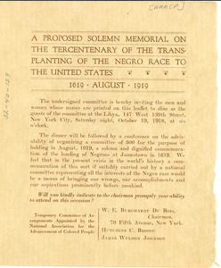 A proposed solemn memorial on the tercentenary of the transplanting of the Negro race to the United States