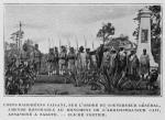 Chefs Dahoméens faisant, sur l'ordre du gouverneur général, amende honorable au monument de l'administrateur cait, assassiné a Sakete