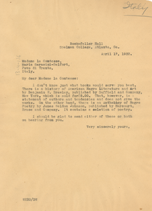 Letter from W. E. B. Du Bois to Maria Saracini-Belfort