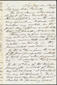 Letter from Samuel Joseph May, Syracuse, [N.Y.], to William Lloyd Garrison, Dec[ember] 21 1863
