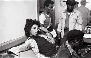 Bob Marley and the Wailers at Paul's Mall: Marley backstage with Carlton Barrett, Aston Barrett, and Joe Higgs