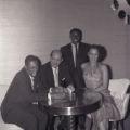 "Film negative of James ""Stump"" Cross, Nate Schlaifer, Harold ""Stumpy"" Cromer, and Rosita Davis at Moulin Rouge, July 30, 1955"