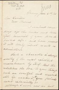Letter from Phebe Hoag Jones, Albanym [N.Y.], to William Lloyd Garrison, June 6th / [18]76