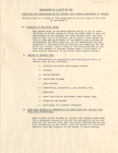 Memorandum on a Study of the Negro and the Administration of Justice, with Special Reference to Georgia