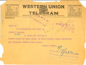 Telegram from Isadore Martin to Robert W. Bagnall