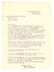 Letter from W. H. Vick to W. E. B. Du Bois