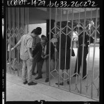 Long Beach Polytechnic High School student being searched for weapons at gate of school in Long Beach, Calif., 1969