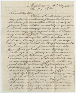 Letter from John Patterson Osterhout to Sarah Osterhout, February 4, 1855
