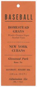 Advertisment tag for the Homestead Grays vs. New York Cubans baseball game