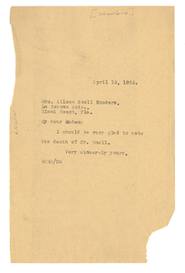 Letter from W. E. B. Du Bois to Aileen Snell Wooders