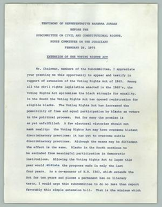 Testimony of Representative Barbara Jordan Before the Subcommittee on Civil and Constitutional Rights, House Committee on the Judiciary, February 26, 1975, Extension of the Voting Rights Act Texas Senate Papers