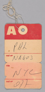 Airline freight tag from Mae's Millinery Shop