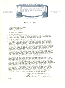 Letter from Illinois State Penitentiary to W. E. B. Du Bois