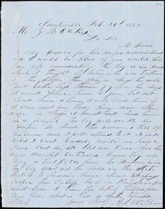 A. J. McElveen, Sumterville, S.C., autograph letter signed to Ziba B. Oakes, 26 February 1855