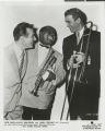 Photograph of Gene Krupa, Louis Armstrong and James Stewart, circa 1954