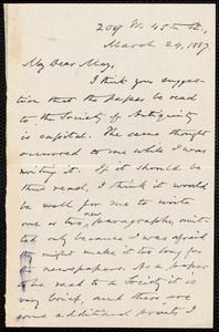 Letter from Oliver Johnson, [New York], to Samuel May, March 24, 1887