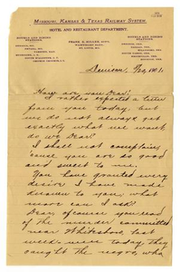 Letter from from Claude D. White to Linnet Moore, August 20, 1901 Charles B. Moore Family papers, 1832-1917