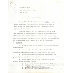 Letter, Mayor's Committee on Violence, June 23, 1976.