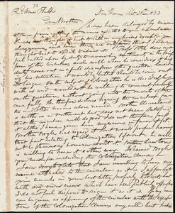 Letter from Simeon Smith Jocelyn, New Haven, to Amos Augustus Phelps, Sept 28th 1833