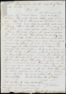 A. J. McElveen, Darlington Court House, S.C., autograph letter signed to Ziba B. Oakes, 29 August 1853