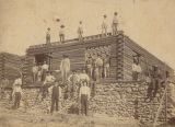 Construction crew in front of a building at the veterans' home in Mountain Creek, Alabama.
