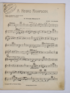 Goldmark, Rubin / NEGRO RHAPSODY, A, French Horn PART.