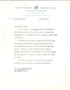 Letter from United Nations Division of Human Rights to W. E. B. Du Bois