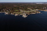 An October 2017 aerial view of Portland Head Light on Cape Elizabeth, one of the most-photographed places in Maine