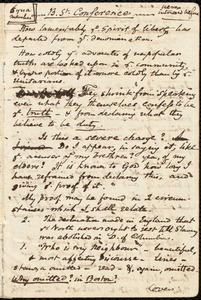 Notes for a speech on slavery by Samuel May, Jr