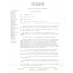 Memo, meeting with Charlie Glenn on May 9, 1977.