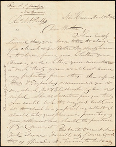 Letter from Simeon Smith Jocelyn, New Haven, to Amos Augustus Phelps, March 28th 1842