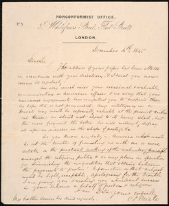 Letter from Charles S. Miall, London, to Amos Augustus Phelps, December 4th 1845