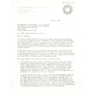 Letter, H3084 hearing date April 9, 1979.