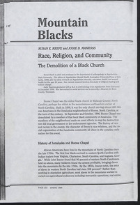 Mountain Blacks: Race, Religion, and Community by Susan E. Keefe and Jodie D. Manross
