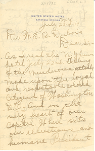 Letter from L. Cook to W. E. B. Du Bois
