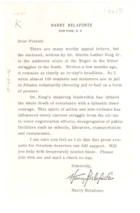 Circular letter from Harry Belafonte to W. E. B. Du Bois