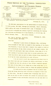 Press service of the NAACP, February 25, 1918