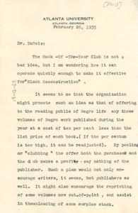 Memorandum from Ira de Augustine Reid to W. E. B. Du Bois